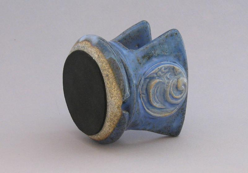 stoneware sponge holder in purple glaze