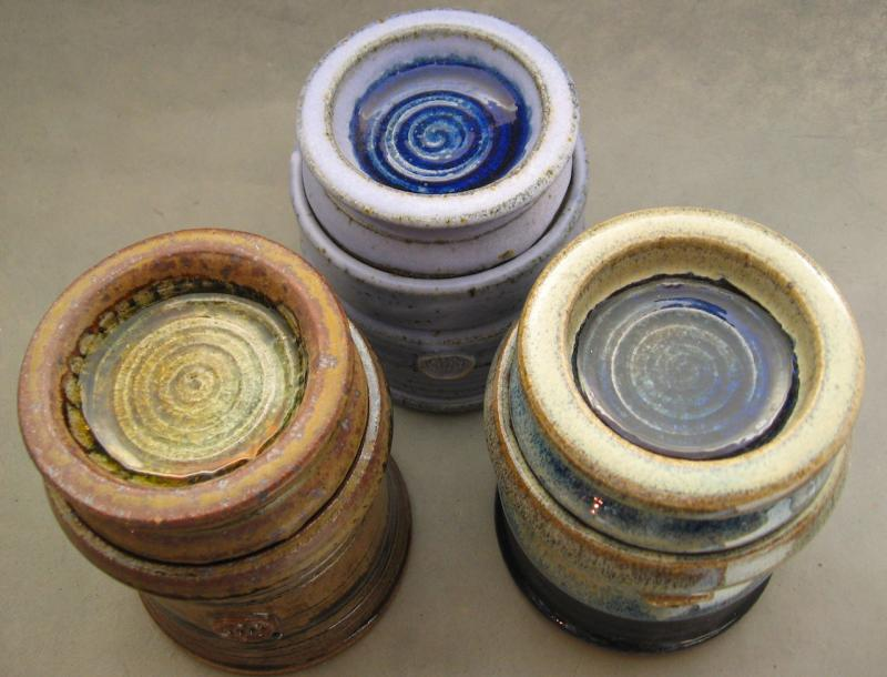hand made stoneware butter keepers lids