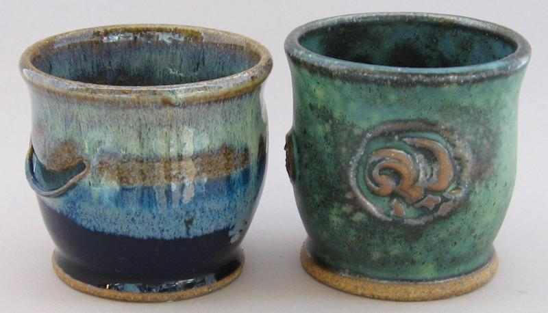 pottery egg separators in green and blue glazes