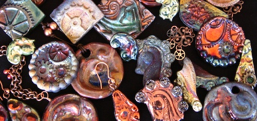 Muddy mountain pottery handmade raku beads and pendants inspired by steampunk science fiction celtic knotwork and mythological imagery aloadofball