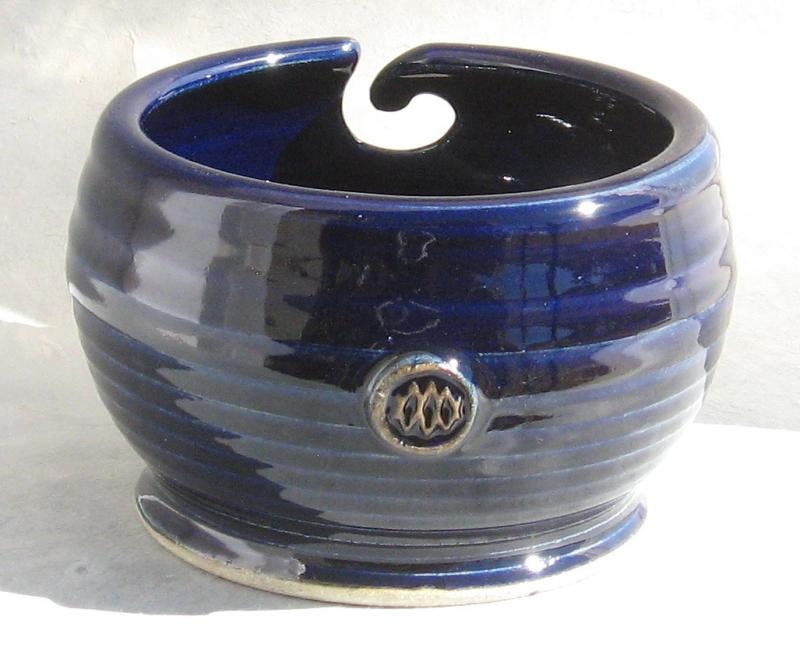ceramic knit bowl in cobalt blue glaze