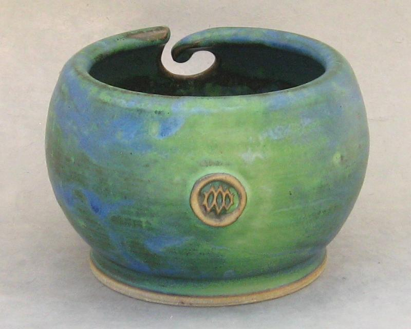 handmade pottery yarn bowl in green glaze