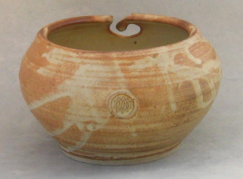 pottery knit bowl yarn bowl brown glaze