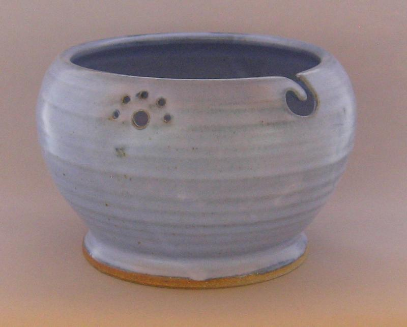 stoneware knit bowl yarn bowl in lavender glaze