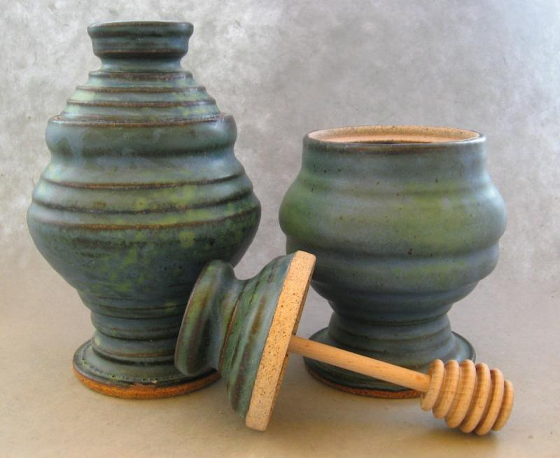 pottery honey pot in green glaze
