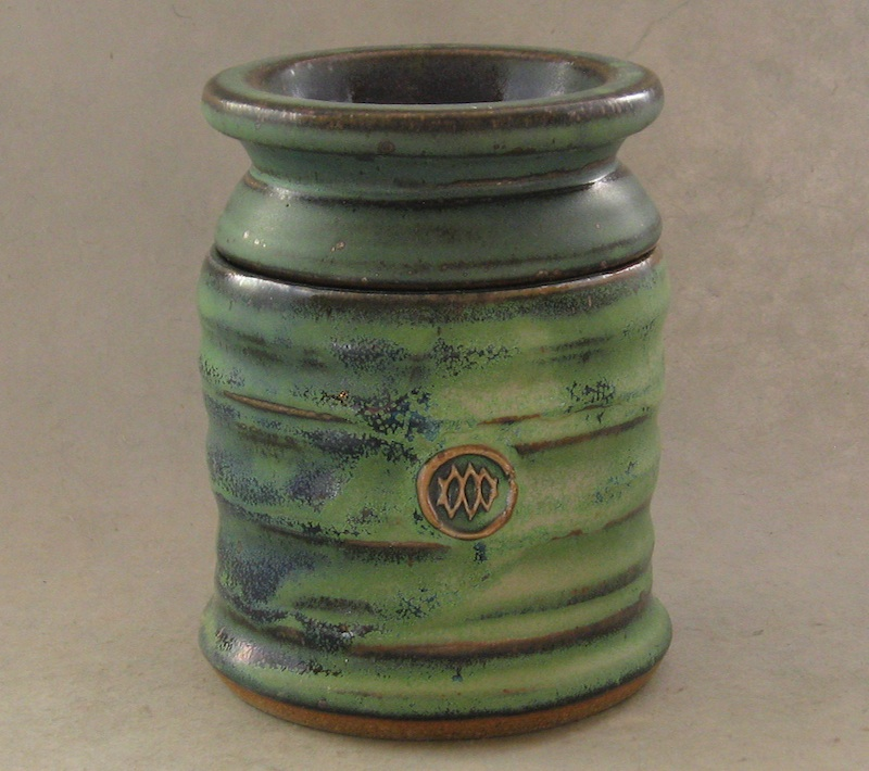 handmade pottery butter bell in green glaze
