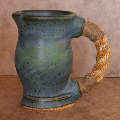 rope handle mug reitz green handmade pottery