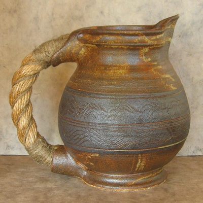 rope handle pitcher stoneware pottery