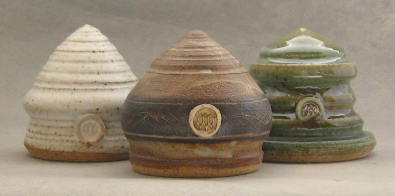 shake from the bottom pottery salt shakers