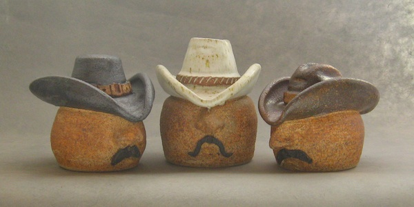 handmade pottery salt shakers cowboy