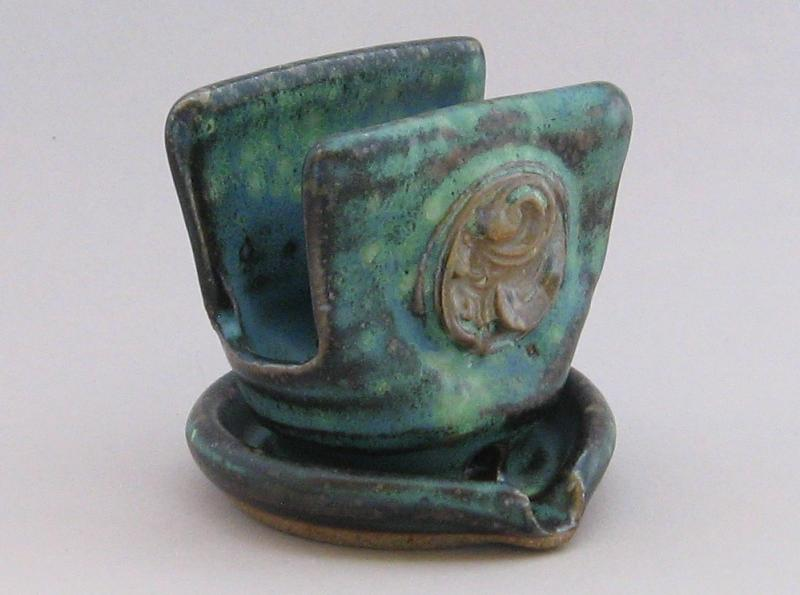 pottery soap holder soap stand green